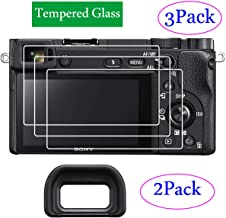 ZLMC A6400 Screen Protectors & Eyecups Compatible with Sony Alpha α6400 DSLR Camera【2+3 Pack】 Tempered Protective Glass Flim, Anti-Scratch Anti-Bubble Anti-Water Anti-Dust Anti-Fingerprint