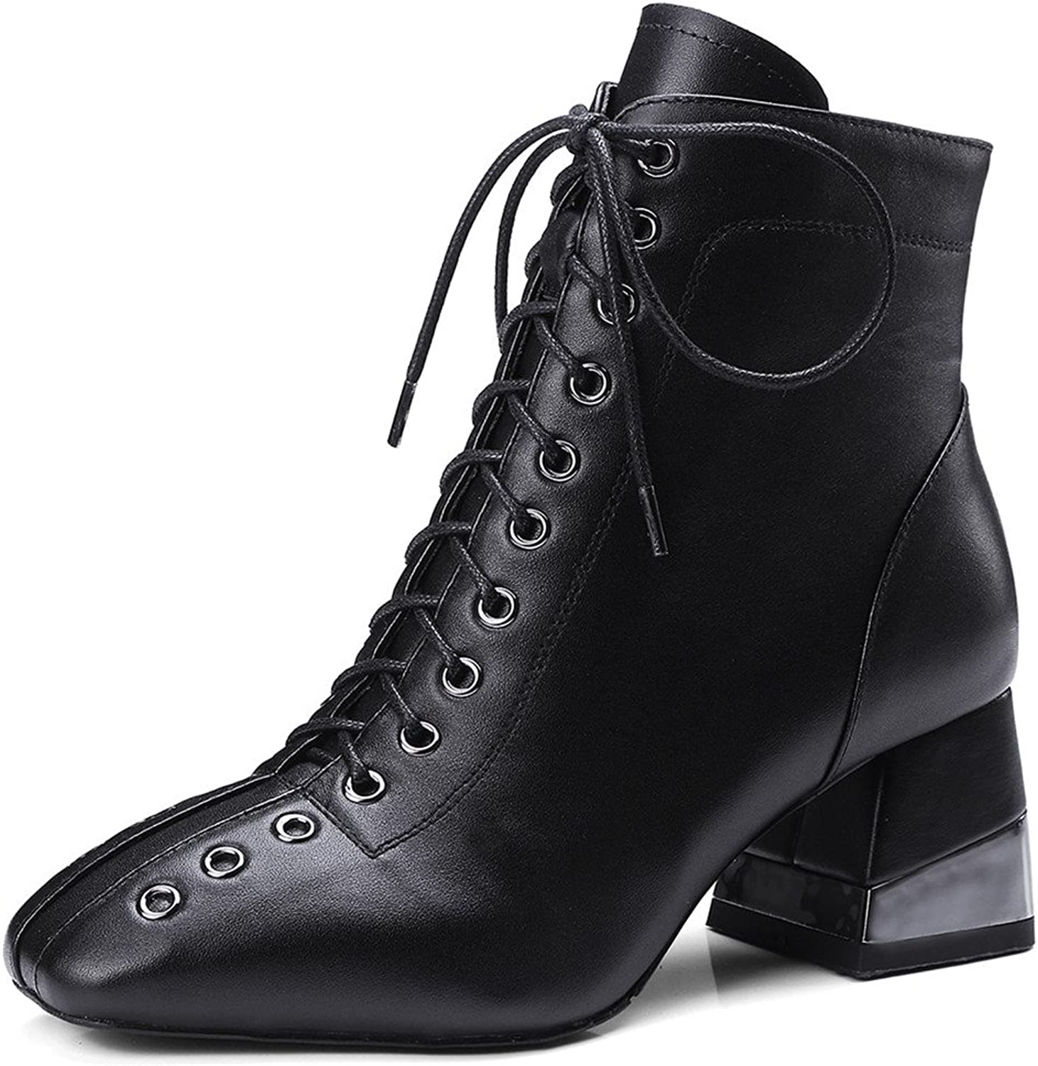 Nine Seven Genuine Leather Women's Square Toe Chunky Heel Side Zip Handmade Lace Up Decorated Ankle Boots
