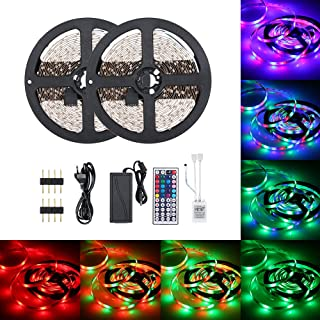 DC12V 48W 10 Meters 600 LED RGB Strip Light with IR 44 Keys Remote Control Controller Cuttable Supported Automatic Colors ...