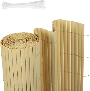 Sekey Estera de PVC, Valla Pantalla, Protección Visual Privacidad para jardín balcón terraza, Resistente a la Intemperie, con Superficie estructurada, con Bridas, 80 x 500 cm, Bambú