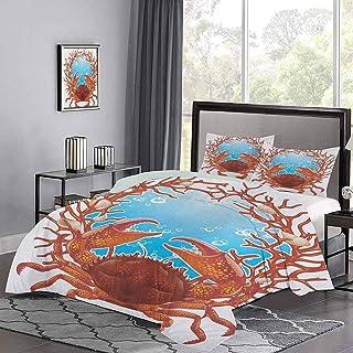 de colchas, colchas de cangrejo, conchas marinas en espiral y marco de coral rojo, garras de acuario, juego de funda nórdica con puntadas de hotel natural, uñas de gato, no se enganchan, naranja oscur
