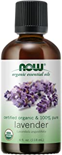 NOW Essential Oils, Organic Lavender Oil, Soothing Aromatherapy Scent, Steam Distilled, 100% Pure, Vegan, Child Resistant ...