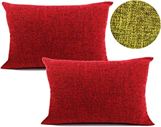 WOMHOPE 2 Pcs - Texturing Linen Cotton Throw Covers Pillow Covers Decorative Pillowcase Square Cushion Covers Throw Pillow Case for Sofa,Couch,Bed,Bench (14
