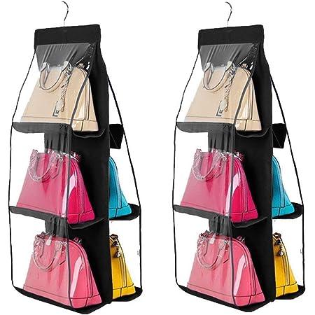 6 Pocket Shelf Bag Hanging Handbag Organizer Storage Holder Wardrobe Closets