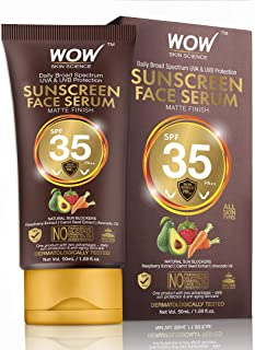 WOW Skin Science Matte Finish Sunscreen Face Serum SPF 35 PA++ with Raspberry, Carrot Seed & Avocado Oil - OIL FREE - No Parabens, Silicones, Mineral Oil, Oxide, Colour, Benzophenone - 50mL