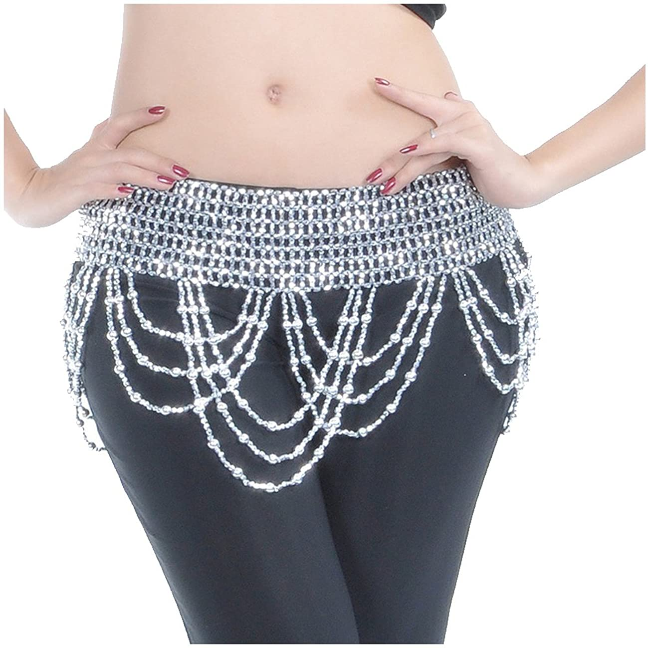 Backgarden Performance Tribal Belly Dance Hip Scarf Waist Body Jewelry Shiny Beaded Coins Belt