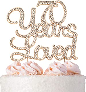 70 Years Loved Rose Gold Cake Topper | Premium Sparkly Crystal Rhinestone Gems | 70th Birthday Party Decoration Ideas | Quality Metal Alloy | Perfect Keepsake |