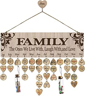Airelon Birthday Gift for Mom, Family Birthday Tracker Wall Hanging Calendar Reminder Plaque Wood Crafts Creative Present for Mother Anniversary Romantic Gift for Wife