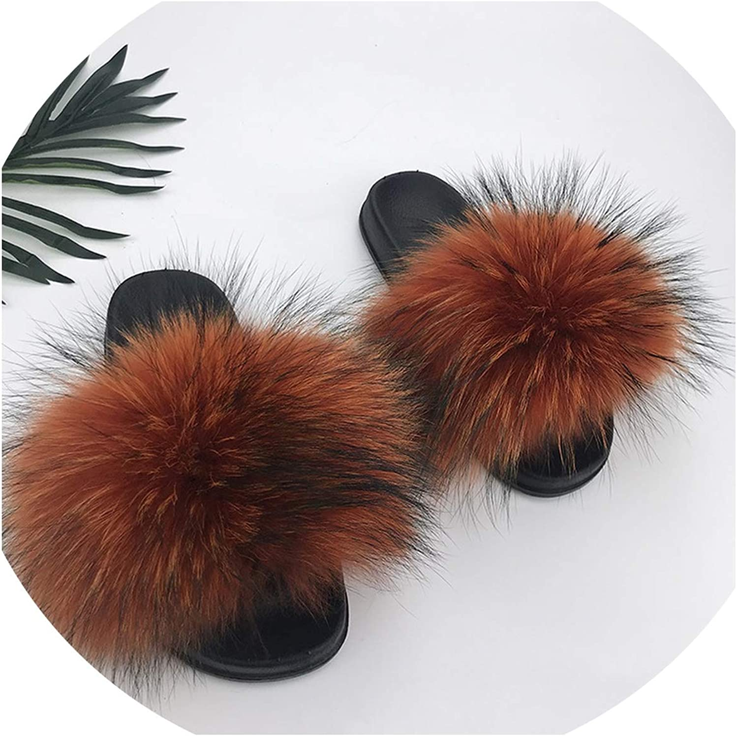 Just XiaoZhouZhou 28 colors Real Fur Slippers Women Fox Fluffy Sliders Comfort with Feathers Furry Summer Flats Sweet Ladies shoes Plus Size 36-45,5,91