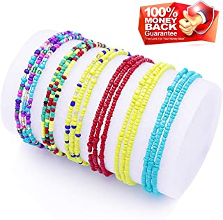 Waist Beads for Women Body Chains African Waist Beads Jewelry Belly Chains Bikini Chain Jewelry Stretchy Elastic String Multi-Color Necklace Bracelet Anklet