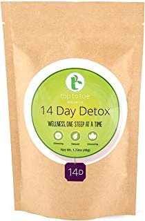 Top to Toe Wellness - 14 Day Detox Tea | Best 100% Natural Weight Loss Tea | Cleanses Digestive System, Promotes Slimming and Reduces Bloating | With Dandelion and Milk Thistle | Loose Leaf 49 grams