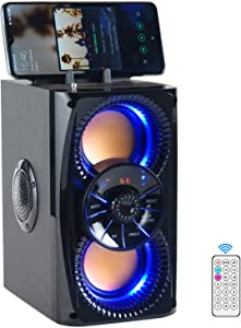 DINDIN Bluetooth Speaker, Wireless Portable Bluetooth Speakers with Subwoofer, Lights, Bass, Radio, Bluetooth Party Speaker Loud for Home Outdoor Indoor Camping, Support, AUX, MIC, Stereo Sound,