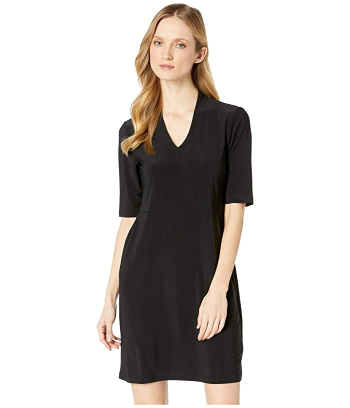 Tribal Pack and Go Travel Jersey Elbow Sleeve Dress w/ Pocket (Black) Women