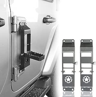 Hooke Road Metal Folding Door Hinge Steps, Door Pedal w/Star Sign for 2018-2019 Jeep Wrangler JL(Set of 2)