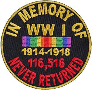 In Memory Of World War 1 Round Patch - 3x3 inch. Embroidered Iron on Patch