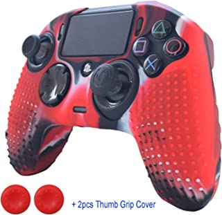 Hikfly Silicone Gel Controller Cover Revolution Pro Controller V2 Cover Compatible with Nacon PS4 Controller Grips Skin Non-Slip Studded Silicone Cover with 2pcs Thumb Grips Caps(CamoRed)