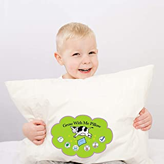 Grow with Me Pillow Toddler Pillow for Kids 14x19 Includes Pillowcase | Soft & Certified Organic Cotton Fabric Chemical & Odor Free | Adjustable Comfort Feature Helps Children Sleep Through The Night