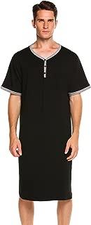 Men's Nightshirts Short Sleeve Nightwear Henley Sleepshirt Kaftan Pajama with Pocket
