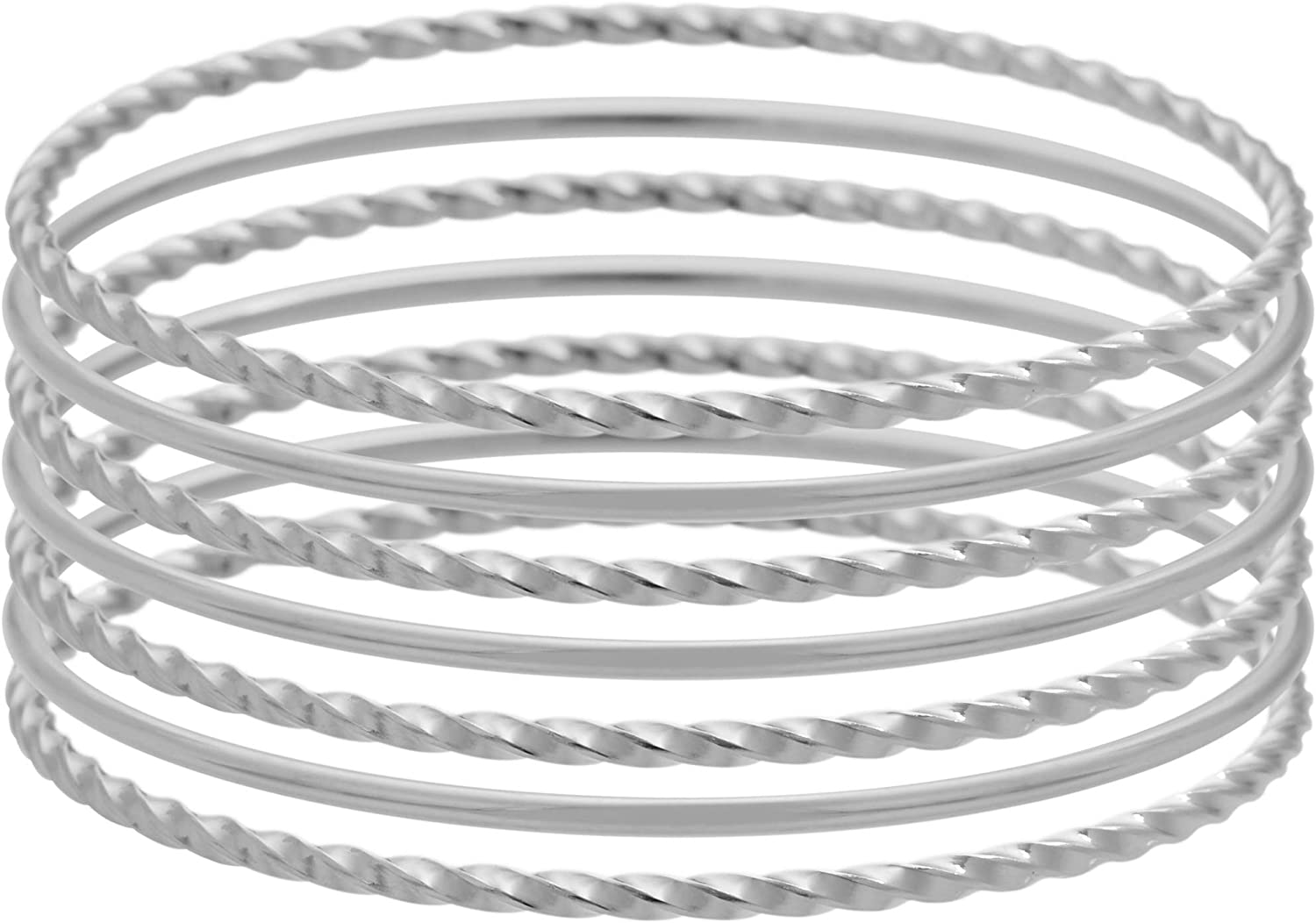Edforce Stainless Steel Women's Twisted Thin Round Stackable Bangle Bracelet, Set of 7
