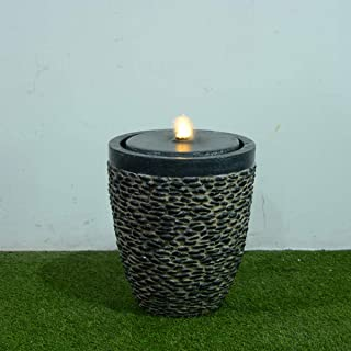 Medium Stone Fountain W/Flame-Effect LED