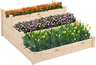 SUNCROWN 3 Tier Wooden Elevated Raised Garden Bed Planter Kit Grow Gardening Vegetable Natural, Patio or Yard Gardening, 4x4ft - Natural