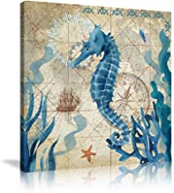 Ocean Sea Wall Art Teal Seahorse Pictures Prints Paintings Decorative Poster Nautical Beach Theme Watercolor Paintings Aes...