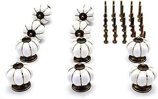 Tueascallk Pumpkin Shaped White Ceramic Knob, Cabinet, Wardrobe, Drawer, Door Handle, 1-1/2