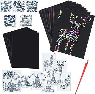 Locisne Kit de papiers à gratter, Ensemble de Tableaux de Notes d'artisanat de Papier à gratter Arc-en-Ciel Magique Noir p...