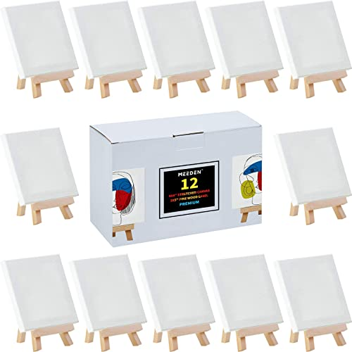 MEEDEN 12Pack 4 by 4 Inch Stretched Canvas with 5 Inch Pine Wood Tabletop Holder Easels for Painting Party, Craft Dra...