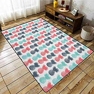 Custom Rug,Pineapple,Island Pineapple Tropic Fruit Pattern Stamped Minimal Backdrop Pop Art,Rustic Home Decor Turquoise Coral White