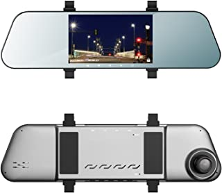 EHOOM Mirror Dash Cam A8, Front View HD Cam, 5 IPS Touch Screen FHD 1080, 6-Lane 170° Wide-Angle View Lens, Car DVR with G-Sensor, Loop Recording, Parking Monitor, Al-alloyed Case, Super Night Vision