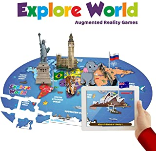 PLAYAUTOMA Explore World (App Based) - Augmented Reality Interactive Learning Games on World Map Jigsaw Floor Puzzle for Kids, Innovative Educational Toy for Boys and Girls Age 6 to 12 Years