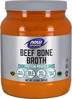 NOW Sports Nutrition, Beef Bone Broth Powder made with Premium-Quality Beef Bone Extract , 1.2-Pound