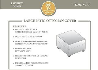 TKC Large Patio Wicker Ottoman Cover in Beige