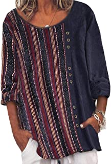 GAGA Women's Stripe Floral Print Tunic-Shirts Corduroy Blouse Top T-Shirts