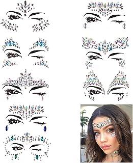PROACC Gemmes de visage, visage Bijoux Autocollants strass, femmes sirène  cristaux festival Rave Glitter