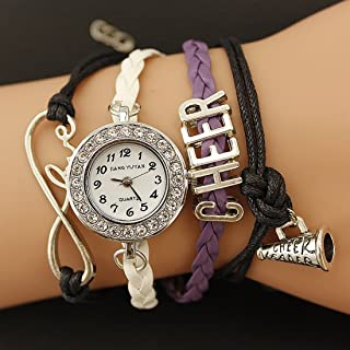 Lanbinxiang@ Unique PU Braided Band Cheers GL68 Quartz Movement Watch with Lobster Clasp Fashion (Color : Purple)