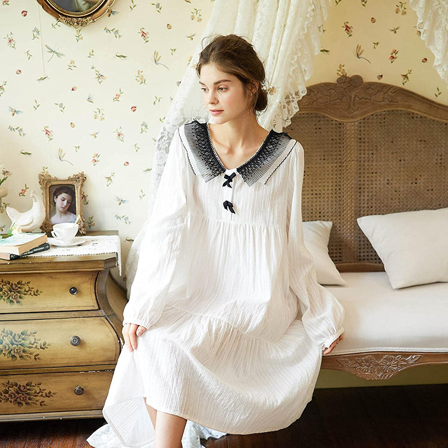 STJDM Nightgown Cotton Sale price Vintage Women Sl Sleeve Long French Style Colorado Springs Mall