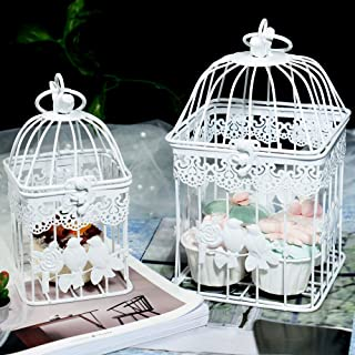 LONGBLE 2Pcs White Metal Wedding Birdcages Gifts Card Holder Vintage Decorative Hanging Candle Latern Beautiful Wedding Reception Piece Bird Cages for Small Birds Home Decorations Party Accessories