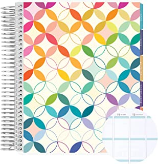 """12 Month 7"""" x 9"""" Spiral Coiled Vertical Weekly Life Planner/Agenda (July 2021 - June 2022). Mid Century Circles Flexible C..."""