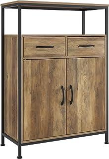 HOMECHO Commode Salon avec 2 tiroirs Meuble de Rangement avec 2 Portes Style Industriel pour Le Salon la Chambre l'Entrée ...