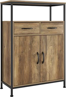 HOMECHO Industrial Storage Cabinet, Floor Cabinet with 2 Fabric Drawers, Sideboard Cupboard with Doors and Shelves, Home Offi