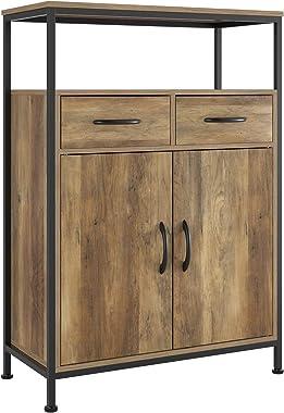 HOMECHO Commode Salon avec 2 tiroirs Meuble de Rangement avec 2 Portes Style Industriel pour Le Salon la Chambre l'Entrée 64