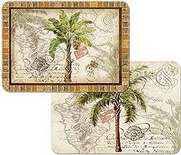 CounterArt 4 West Indies Palm Placemats, Reversible Washable Plastic
