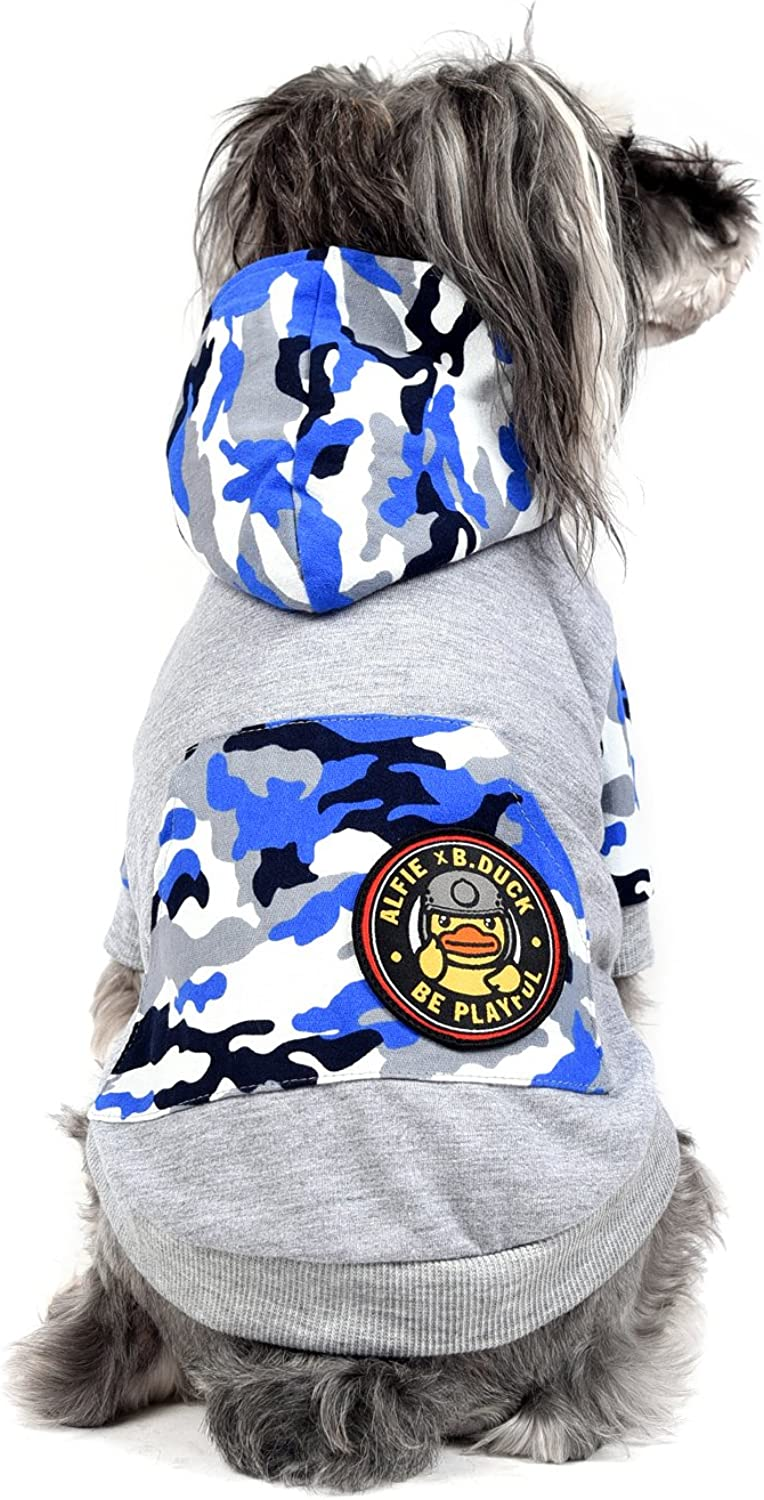 Alfie x B.Duck  Maddox Military Hoodie  color  bluee, Size  Medium