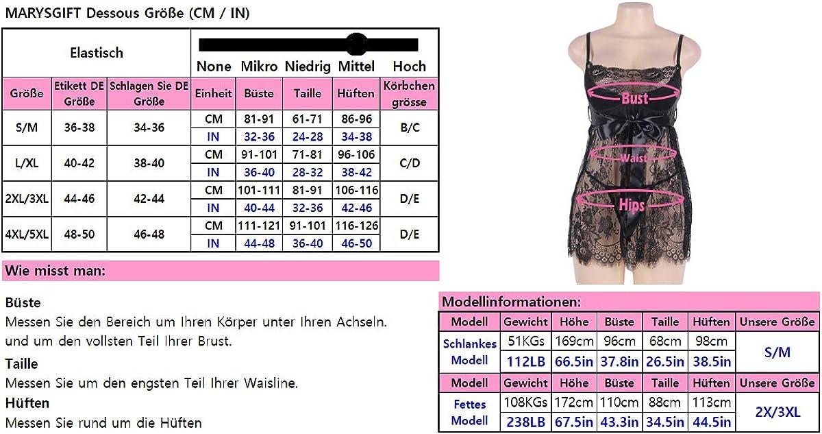 marysgift Nuisette Grande Taille Lingerie Chemise Babydoll V/êTements De Nuit pour Les Femmes Mini Robe avec G String EUR 36 38 40 42 44 46 48 50