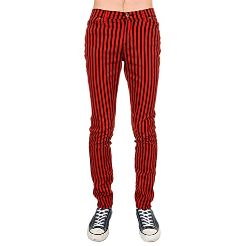 NEW WOMENS SKINNY STRETCH MID RISE BLACK AND RED STRIPE JEANS INDIE RETRO ROCK
