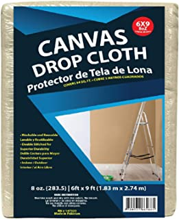 6x9 Canvas Drop Cloths Painters Drop Cloth for Furniture & Floor Protection - All Purpose Thick Cloth Duck Canvas with Stu...