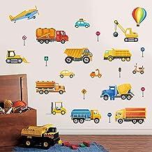 decalmile Muurstickers Bouwvoertuig Muurtattoo Truck Auto's Vervoer Wanddecoratie Baby Kinderen Jongen Speel Kamer