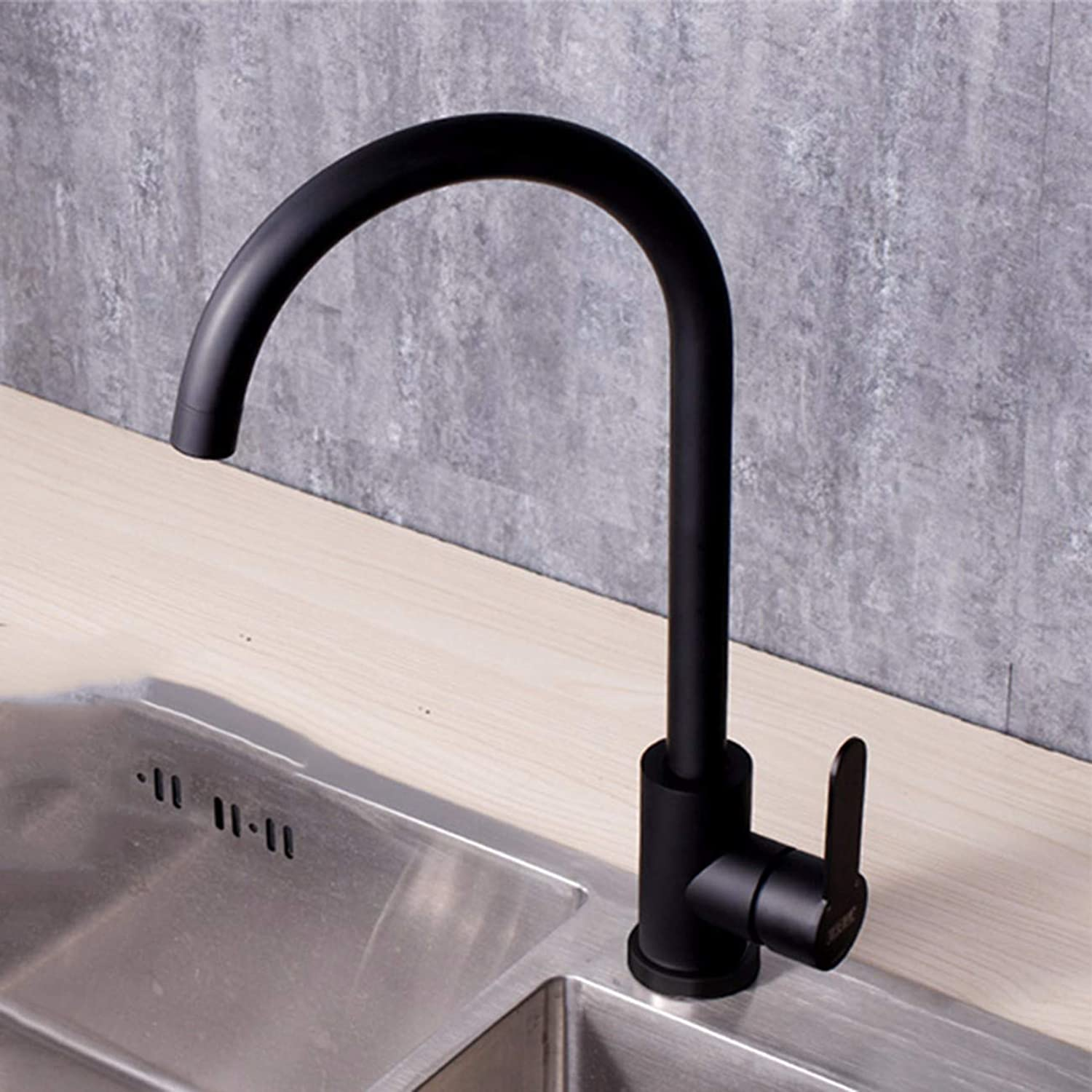 Kitchen tap Stainless Steel Hot And Cold Water Faucet Kitchen Sink Wash Basin Paint Baking Black Black Matte Grind,C
